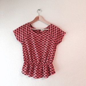 EUC Lily White Pink peplum dragonfly Top Small